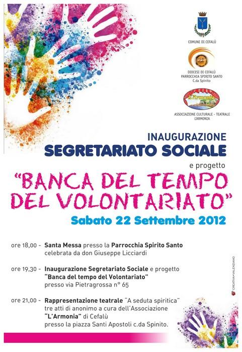 22 Settembre: inaugurazione Segretariato Sociale e Banca del Tempo