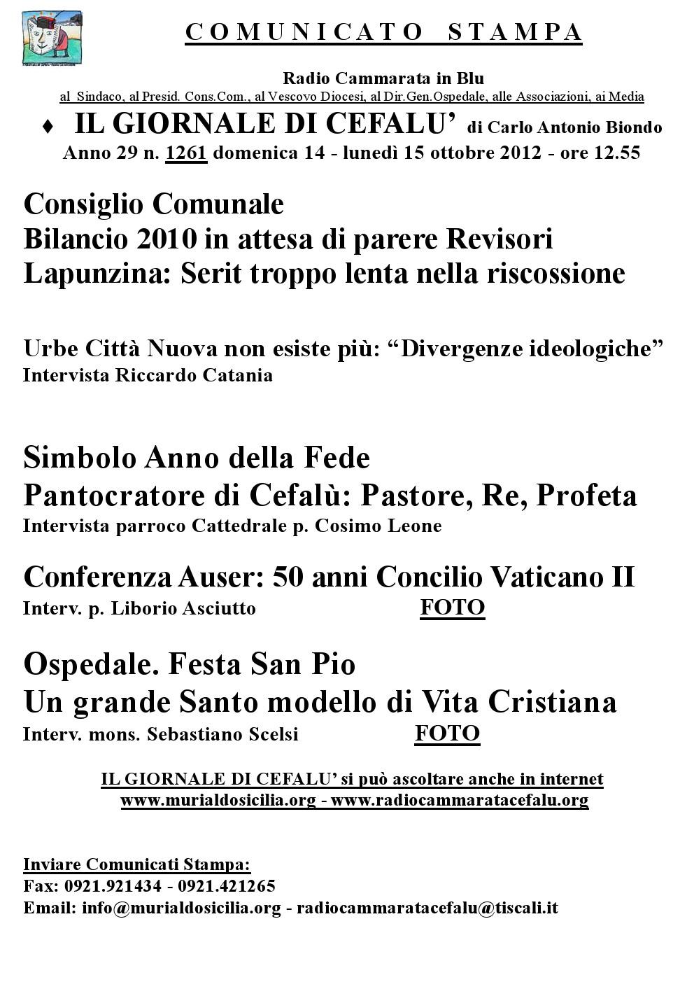 """Bilancio 2010 e fine del progetto Urbe nel nuovo numero de """"Il Giornale di Cefalù"""""""
