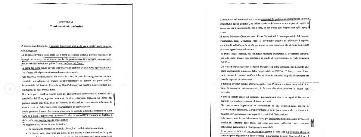 Cefalù - Relazione Vallante: il testo intergrale