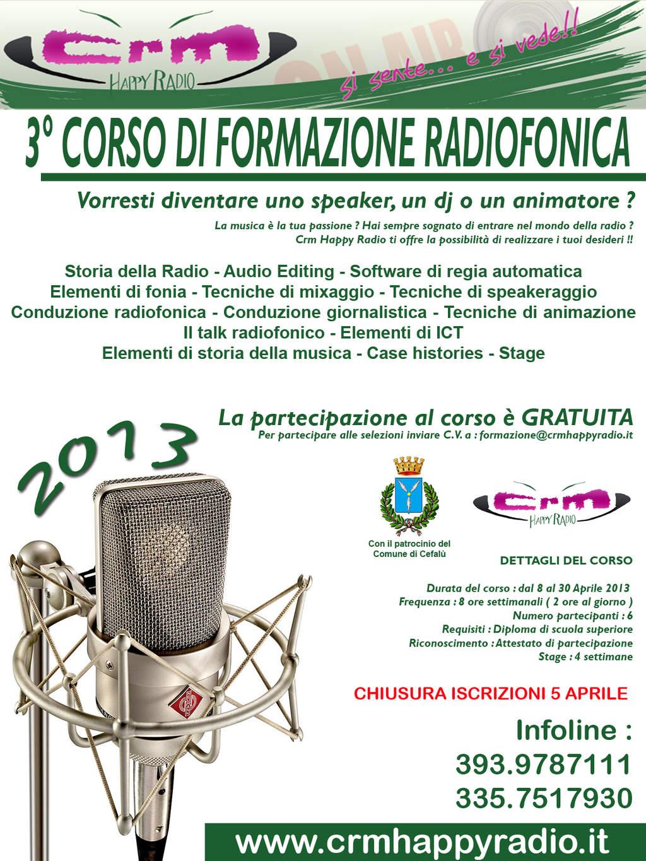 """Crm Happy Radio organizza il """"3° Corso di formazione radiofonica"""""""