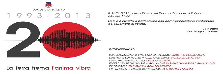 Una Commemorazione per il ventennale del terremoto di Pollina