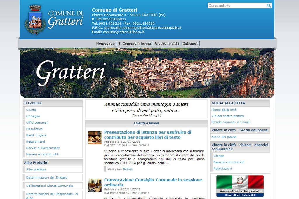 Nuovo look per il sito ufficiale del Comune di Gratteri