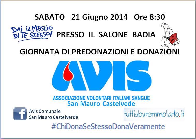 Il 21 giugno AVIS San Mauro invita la cittadinanza ad un semplice ma importante gesto di solidarietà