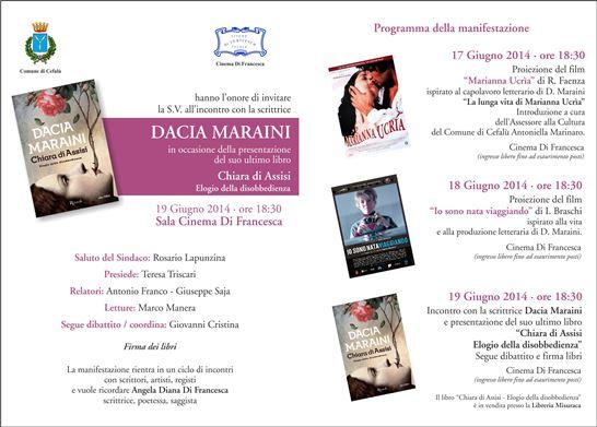 A Cefalù tre giorni dedicati alla Maraini