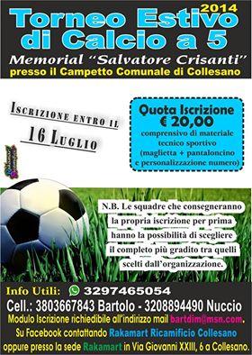 """Collesano: Torneo Estivo di Calcio a 5 """"Memorial Salvatore Crisanti"""""""