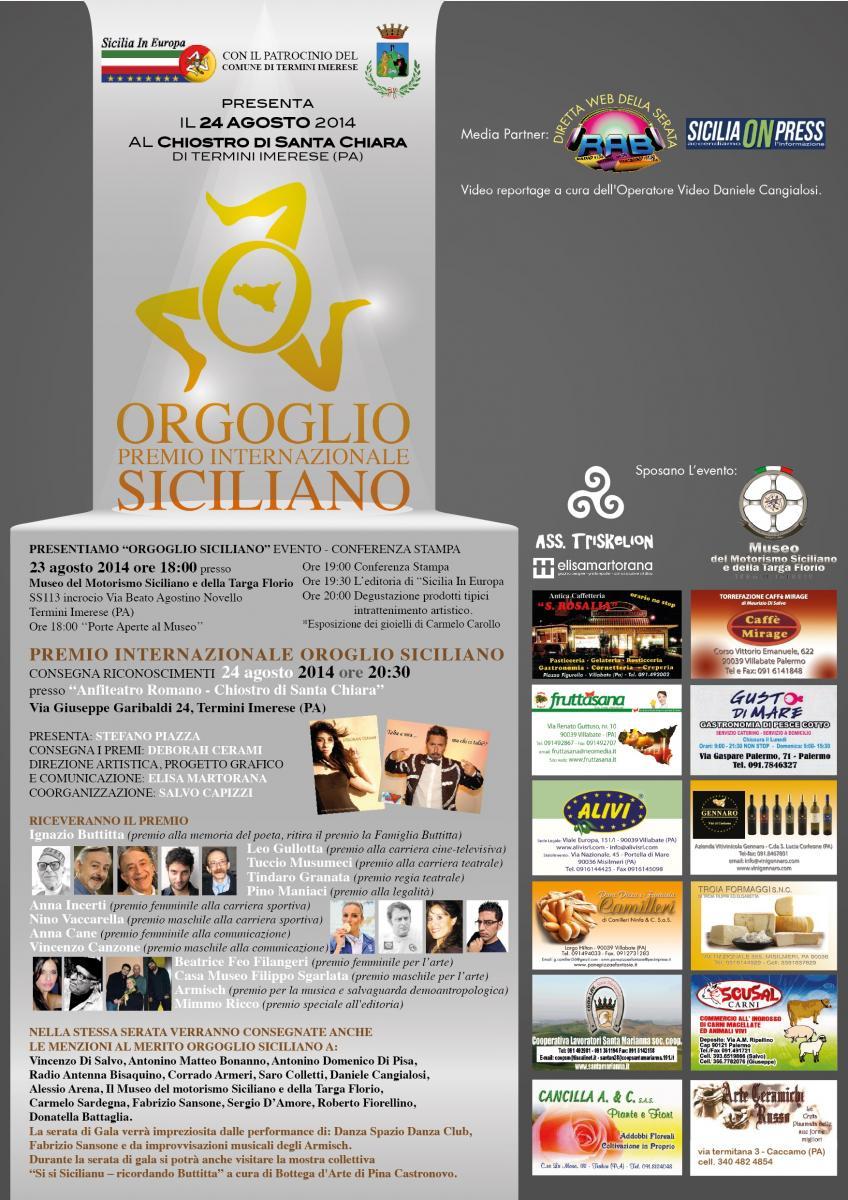 Il Premio Internazionale Orgoglio Siciliano giunge alla V edizione