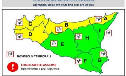 Allerta gialla, per temporali e piogge domani in Sicilia