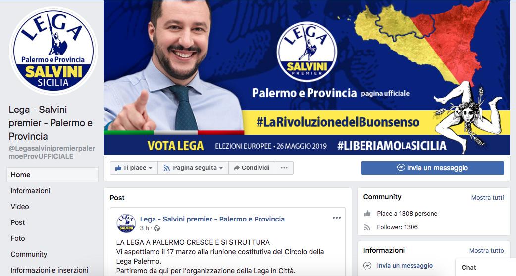 Inaugura la pagina Facebook ufficiale Lega Salvini Premier Palermo e provincia