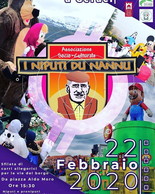 Il 22 febbraio appuntamento col carnevale a Geraci Siculo