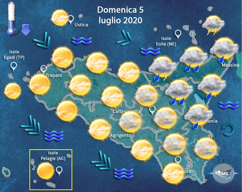 Meteo Sicilia: previsioni per domenica 5 luglio